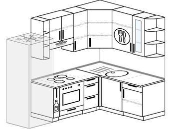 Угловая кухня 5,7 м² (2,3✕1,6 м), верхние модули 92 см, встроенный духовой шкаф, холодильник
