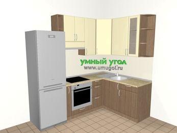 Угловая кухня МДФ матовый 5,7 м², 2300 на 1600 мм, Ваниль / Лиственница бронзовая, верхние модули 920 мм, встроенный духовой шкаф, холодильник