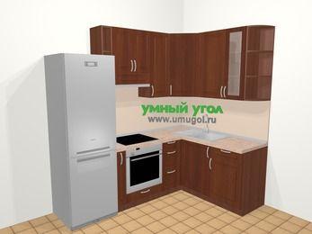 Угловая кухня МДФ матовый в классическом стиле 5,7 м², 230 на 160 см, Вишня темная, верхние модули 92 см, встроенный духовой шкаф, холодильник