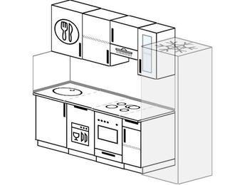 Планировка прямой кухни 5,0 м², 230 см (зеркальный проект): верхние модули 72 см, посудомоечная машина, встроенный духовой шкаф, холодильник