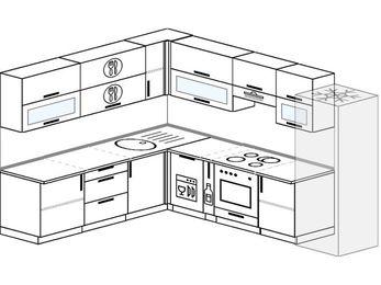 Планировка угловой кухни 9,2 м², 230 на 290 см (зеркальный проект): верхние модули 72 см, посудомоечная машина, корзина-бутылочница, встроенный духовой шкаф, холодильник