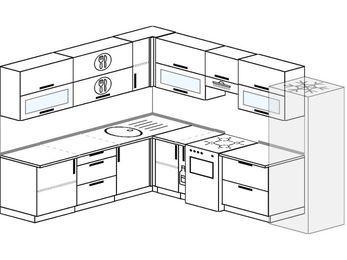Планировка угловой кухни 9,2 м², 2300 на 2900 мм (зеркальный проект): верхние модули 720 мм, корзина-бутылочница, отдельно стоящая плита, холодильник