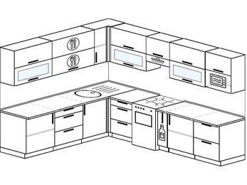 Планировка угловой кухни 9,2 м², 2300 на 2900 мм (зеркальный проект): верхние модули 720 мм, отдельно стоящая плита, корзина-бутылочница, модуль под свч