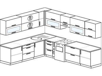 Планировка угловой кухни 9,2 м², 230 на 290 см (зеркальный проект): верхние модули 72 см, корзина-бутылочница, отдельно стоящая плита