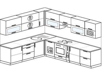 Планировка угловой кухни 9,2 м², 230 на 290 см (зеркальный проект): верхние модули 72 см, посудомоечная машина, встроенный духовой шкаф, корзина-бутылочница, модуль под свч