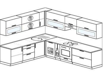 Планировка угловой кухни 9,2 м², 2300 на 2900 мм (зеркальный проект): верхние модули 720 мм, посудомоечная машина, корзина-бутылочница, встроенный духовой шкаф