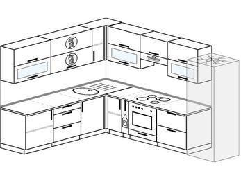 Планировка угловой кухни 9,2 м², 2300 на 2900 мм (зеркальный проект): верхние модули 720 мм, корзина-бутылочница, встроенный духовой шкаф, холодильник