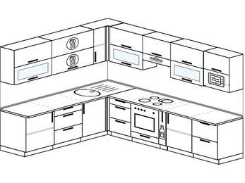 Планировка угловой кухни 9,2 м², 2300 на 2900 мм (зеркальный проект): верхние модули 720 мм, встроенный духовой шкаф, корзина-бутылочница, модуль под свч