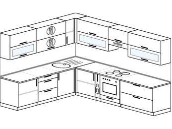 Планировка угловой кухни 9,2 м², 230 на 290 см (зеркальный проект): верхние модули 72 см, корзина-бутылочница, встроенный духовой шкаф
