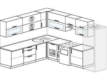 Планировка угловой кухни 9,2 м², 230 на 290 см (зеркальный проект): верхние модули 72 см, посудомоечная машина, корзина-бутылочница, отдельно стоящая плита, холодильник