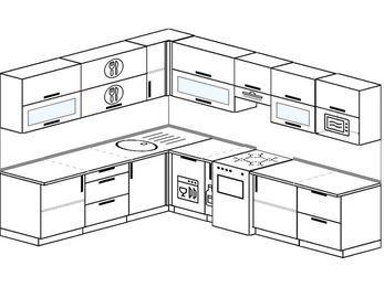 Планировка угловой кухни 9,2 м², 230 на 290 см (зеркальный проект): верхние модули 72 см, посудомоечная машина, корзина-бутылочница, отдельно стоящая плита, модуль под свч