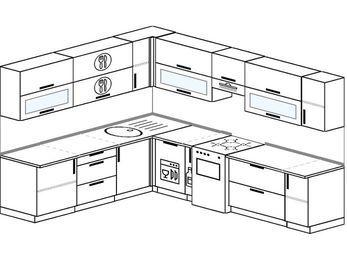 Планировка угловой кухни 9,2 м², 2300 на 2900 мм (зеркальный проект): верхние модули 720 мм, посудомоечная машина, корзина-бутылочница, отдельно стоящая плита