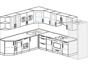 Планировка угловой кухни 9,2 м², 2300 на 2900 мм (зеркальный проект): верхние модули 720 мм, корзина-бутылочница, посудомоечная машина, встроенный духовой шкаф, холодильник