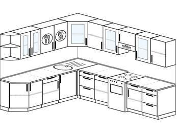 Планировка угловой кухни 9,2 м², 230 на 290 см (зеркальный проект): верхние модули 72 см, отдельно стоящая плита