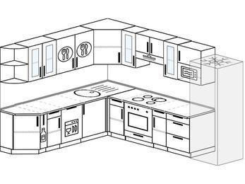 Планировка угловой кухни 9,2 м², 230 на 290 см (зеркальный проект): верхние модули 72 см, корзина-бутылочница, посудомоечная машина, встроенный духовой шкаф, холодильник, модуль под свч