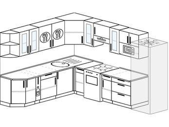 Планировка угловой кухни 9,2 м², 230 на 290 см (зеркальный проект): верхние модули 72 см, корзина-бутылочница, отдельно стоящая плита, холодильник, модуль под свч
