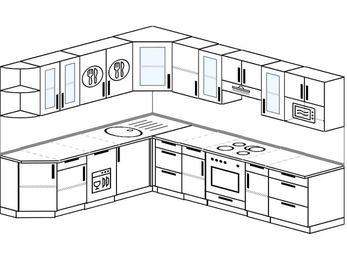 Планировка угловой кухни 9,2 м², 230 на 290 см (зеркальный проект): верхние модули 72 см, посудомоечная машина, встроенный духовой шкаф, модуль под свч