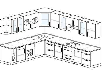 Угловая кухня 9,2 м² (2,3✕2,9 м), верхние модули 72 см, посудомоечная машина, встроенный духовой шкаф