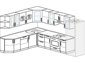 Планировка угловой кухни 9,2 м², 230 на 290 см (зеркальный проект): верхние модули 72 см, встроенный духовой шкаф, холодильник