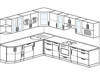 Планировка угловой кухни 9,2 м², 2300 на 2900 мм (зеркальный проект): верхние модули 720 мм, корзина-бутылочница, встроенный духовой шкаф, модуль под свч