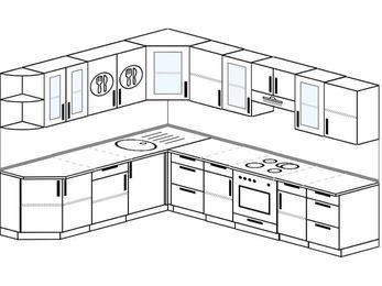 Планировка угловой кухни 9,2 м², 230 на 290 см (зеркальный проект): верхние модули 72 см, встроенный духовой шкаф