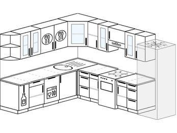 Планировка угловой кухни 9,2 м², 230 на 290 см (зеркальный проект): верхние модули 72 см, корзина-бутылочница, посудомоечная машина, отдельно стоящая плита, холодильник