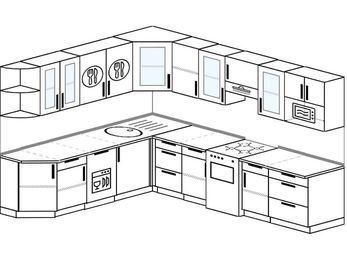 Планировка угловой кухни 9,2 м², 230 на 290 см (зеркальный проект): верхние модули 72 см, посудомоечная машина, отдельно стоящая плита, модуль под свч