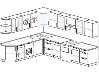 Планировка угловой кухни 9,2 м², 2300 на 2900 мм (зеркальный проект): верхние модули 720 мм, корзина-бутылочница, посудомоечная машина, отдельно стоящая плита