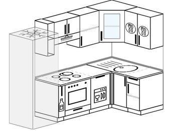 Угловая кухня 5,2 м² (2,4✕1,2 м), верхние модули 720 мм, посудомоечная машина, встроенный духовой шкаф, холодильник