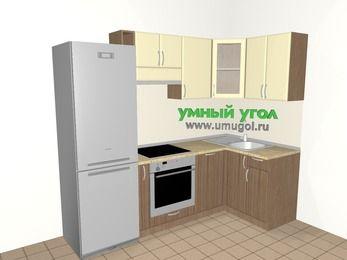 Угловая кухня МДФ матовый 5,2 м², 2400 на 1200 мм, Ваниль / Лиственница бронзовая, верхние модули 720 мм, посудомоечная машина, встроенный духовой шкаф, холодильник