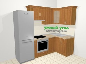 Угловая кухня МДФ матовый в классическом стиле 5,2 м², 240 на 120 см, Вишня, верхние модули 72 см, посудомоечная машина, встроенный духовой шкаф, холодильник