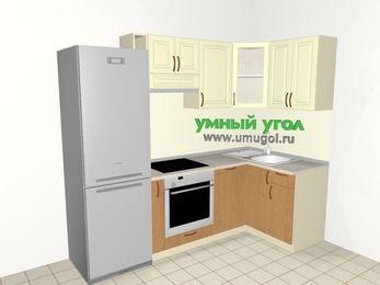 Угловая кухня из МДФ + ЛДСП 5,2 м², 2400 на 1200 мм, Ваниль / Ольха, верхние модули 720 мм, посудомоечная машина, встроенный духовой шкаф, холодильник