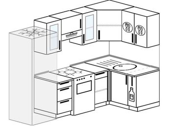 Планировка угловой кухни 5,2 м², 2400 на 1200 мм: верхние модули 720 мм, холодильник, отдельно стоящая плита, корзина-бутылочница