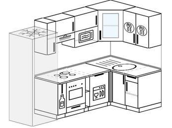 Угловая кухня 5,2 м² (2,4✕1,2 м), верхние модули 720 мм, посудомоечная машина, модуль под свч, встроенный духовой шкаф, холодильник