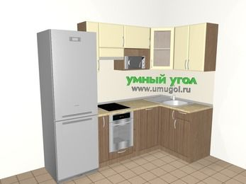 Угловая кухня МДФ матовый 5,2 м², 2400 на 1200 мм, Ваниль / Лиственница бронзовая, верхние модули 720 мм, посудомоечная машина, модуль под свч, встроенный духовой шкаф, холодильник