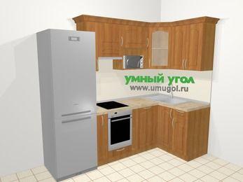 Угловая кухня МДФ матовый в классическом стиле 5,2 м², 240 на 120 см, Вишня, верхние модули 72 см, посудомоечная машина, модуль под свч, встроенный духовой шкаф, холодильник