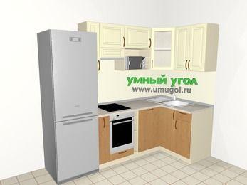 Угловая кухня из МДФ + ЛДСП 5,2 м², 2400 на 1200 мм, Ваниль / Ольха, верхние модули 720 мм, посудомоечная машина, модуль под свч, встроенный духовой шкаф, холодильник