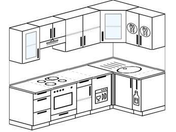 Планировка угловой кухни 5,2 м², 240 на 120 см: верхние модули 72 см, встроенный духовой шкаф, посудомоечная машина, корзина-бутылочница