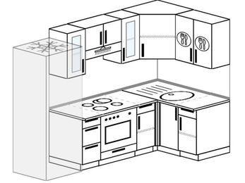 Угловая кухня 5,2 м² (2,4✕1,2 м), верхние модули 720 мм, встроенный духовой шкаф, холодильник