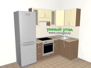 Угловая кухня МДФ матовый 5,2 м², 2400 на 1200 мм, Ваниль / Лиственница бронзовая, верхние модули 720 мм, встроенный духовой шкаф, холодильник