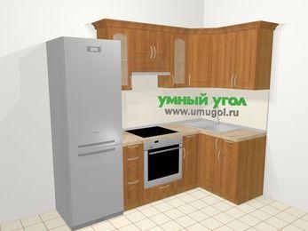 Угловая кухня МДФ матовый в классическом стиле 5,2 м², 240 на 120 см, Вишня, верхние модули 72 см, встроенный духовой шкаф, холодильник