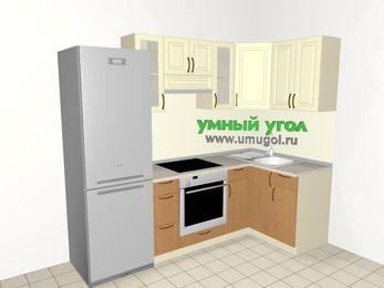 Угловая кухня из МДФ + ЛДСП 5,2 м², 2400 на 1200 мм, Ваниль / Ольха, верхние модули 720 мм, встроенный духовой шкаф, холодильник