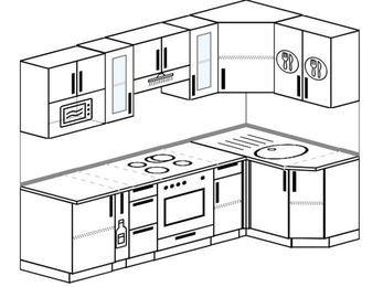 Планировка угловой кухни 5,2 м², 240 на 120 см: верхние модули 72 см, корзина-бутылочница, встроенный духовой шкаф, модуль под свч