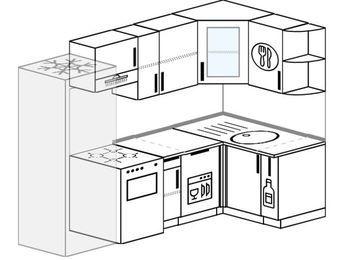 Угловая кухня 5,2 м² (2,4✕1,2 м), верхние модули 720 мм, посудомоечная машина, холодильник, отдельно стоящая плита