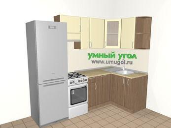 Угловая кухня МДФ матовый 5,2 м², 2400 на 1200 мм, Ваниль / Лиственница бронзовая, верхние модули 720 мм, посудомоечная машина, холодильник, отдельно стоящая плита
