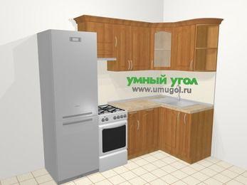Угловая кухня МДФ матовый в классическом стиле 5,2 м², 240 на 120 см, Вишня, верхние модули 72 см, посудомоечная машина, холодильник, отдельно стоящая плита