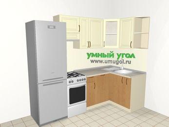 Угловая кухня из МДФ + ЛДСП 5,2 м², 2400 на 1200 мм, Ваниль / Ольха, верхние модули 720 мм, посудомоечная машина, холодильник, отдельно стоящая плита