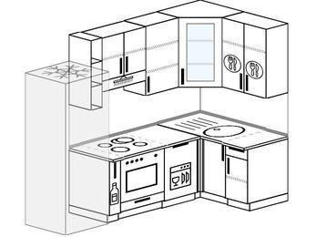Угловая кухня 5,2 м² (2,4✕1,2 м), верхние модули 92 см, посудомоечная машина, встроенный духовой шкаф, холодильник