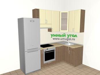 Угловая кухня МДФ матовый 5,2 м², 2400 на 1200 мм, Ваниль / Лиственница бронзовая, верхние модули 920 мм, посудомоечная машина, встроенный духовой шкаф, холодильник