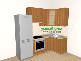 Угловая кухня МДФ матовый 5,2 м², 2400 на 1200 мм, Вишня, верхние модули 920 мм, посудомоечная машина, встроенный духовой шкаф, холодильник